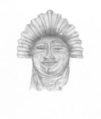 """This drawing is of Sarah, the Egyptian who was said to have accompanied the holy family to Britain. She was carved of onyx and stood ~5 """" tall."""