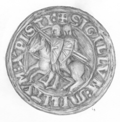 This drawing depicts twin riders of a Templar medallion.